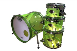 Neon Green Acrylic / Frosted Stripes /  Chrome Hardware