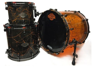 Orange & Black Acrylic / Paint splatter Finish / Black Nickel Hardware
