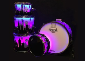 Frosted Clear Acrylic / Skyline Artwork / Chrome & Black Nickel Hardware