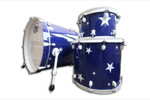 Gloss Blue Wrap With Stars / White Hardware