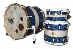 Blue & White Pearl With Gold Sparkle Pinstripes / White Hardware