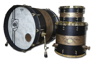 Matt Black Stain With Weathered gold Bands / Brass Hardware