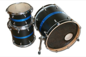 Flat Black Wrap With Blue Sparkle Pins / Chrome Hardware