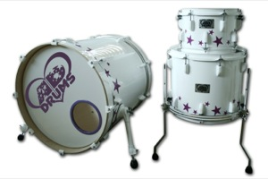 Gloss White Wrap With Purple Stars / White Hardware