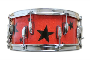 Orange Glass Glitter With Black Stars / Chrome Hardware