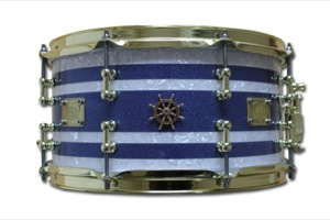 Blue Sparkle & White Pearl Tri Band / Brass Hardware