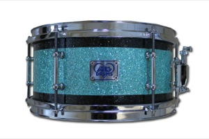 Turquoise Glass Glitter With Black Pinstripes / Chrome Hardware