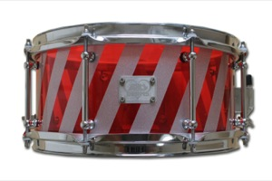 Red Acrylic With Silver Barber Shop Stripes / Chrome Hardware
