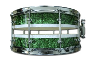 Split Shell With Green & White Pearl Wrap / Chrome Hardware