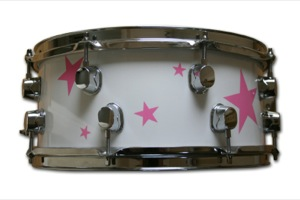 Gloss White Wrap With Pink Stars / Chrome Hardware