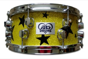 Yellow Glass Glitter With Black Stars / Chrome Hardware