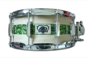 Oak Veneer & Green Pearl Inlay / Chrome Hardware